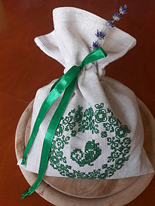 Úžitkový textil - vrecúško Green Bird - 9706832_