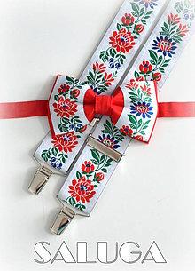 Doplnky - Folklórny pánsky červený motýlik a traky - folkový - 9707426_