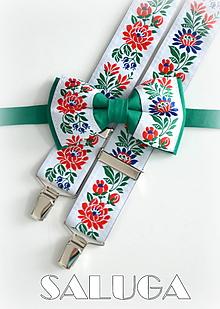 Doplnky - Folklórny pánsky zelený motýlik a traky folk - 9707437_
