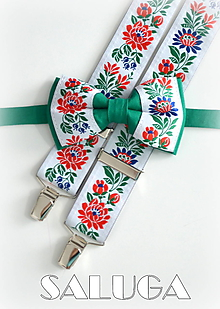 Doplnky - Folklórny pánsky zelený motýlik a traky folk - 9707439_