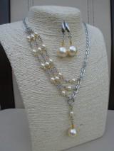 Elegantná perlová sada šperkov - náhrdelník a náušnice