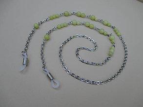 Iné šperky - Retiazka na okuliare - chirurgická oceľ s jadeitom - 9707163_