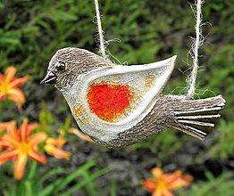 Dekorácie - keramický vtáčik na zavesenie - 9708958_