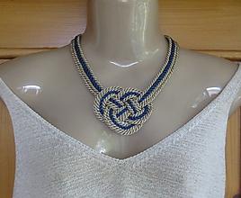 Náhrdelníky - Uzlový náhrdelník hrubý (modro béžový, č. 1823) - 9708739_