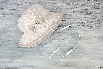 Detské čiapky - Letný širák cream - 9708738_