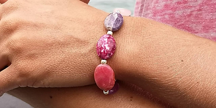 Náramky - Boho náramok z minerálov rose, lila - 9709338_