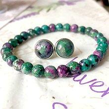 Sady šperkov - Ruby Zoisite & Stainless Steel Earrings & Bracelet Set / Sada náušníc a náramku s rubínom zoisitom (chirurgická oceľ) - 9710903_