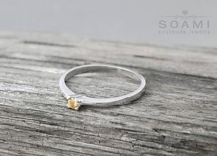 Prstene - 925 strieborný prsteň s oranžovým zafírom Túžba po tebe - 9712336_