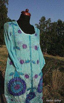 Šaty - Hedvábné šaty Léto na břehu jezera - 9710922_
