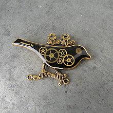 Odznaky/Brošne - ČERNÝ PTÁČEK, brož, hodinková, steampunk - 9712506_
