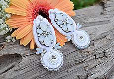 Náušnice - Soutache náušnice Svadobné...White Elegance romantické, kvetinové - 9712742_