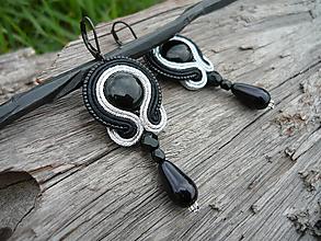 Náušnice - Soutache náušnice Black&Silver - 9710091_