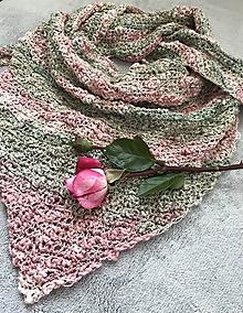 Šatky - Šatka ružovo-zelená - 9711368_