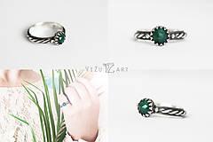 Prstene - Strieborný prsteň so silimanitom - Smaragdové nebíčko - 9710204_