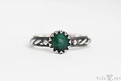 Prstene - Strieborný prsteň so silimanitom - Smaragdové nebíčko - 9710208_