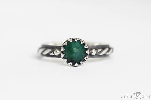 Strieborný prsteň so silimanitom - Smaragdové nebíčko
