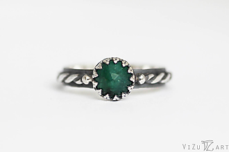 Prstene - Strieborný prsteň so smaragdom - Smaragdové nebíčko - 9710208  9fb8d7054dd