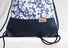 Batohy - Vak uťahovací - modrý korok & kvety - 9710950_