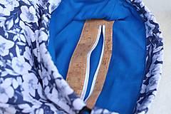 Batohy - Vak uťahovací - modrý korok & kvety - 9710951_