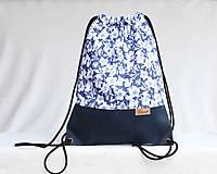 Batohy - Vak uťahovací - modrý korok & kvety - 9710952_