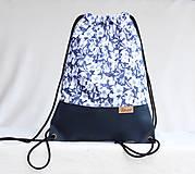 Batohy - Vak uťahovací - modrý korok & kvety - 9710953_