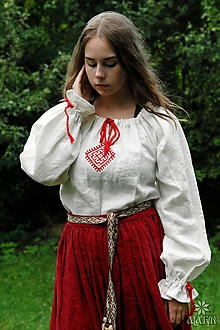 Košele - Košieľka ženská ľanová Ladomíra maľovaná - 9712732_