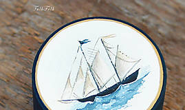 Prstene - Maľovaná šperkovnička s plachetnicou - 9710550_