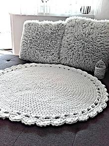 Úžitkový textil - Scandinavian háčkovaný koberec biely 80cm - 9710891_