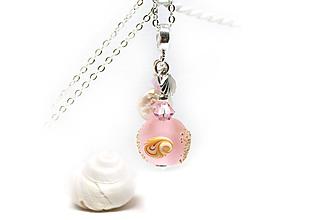 Náhrdelníky - Seaglass pink prívesok - 9711209_