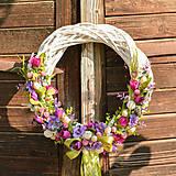 - Fialový veľkonočný venček na dvere (45cm) - 9713211_