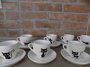 Nádoby - Sada 8 espresso šálok - Black Cats - 9712289_