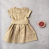 Detské oblečenie - Detské ľanové šaty s opaskom - rôzne farby - 9710191_