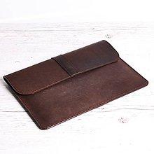 Na notebook - Tmavohnedý kožený obal na notebook. Puzdro na notebook. - 9711909_