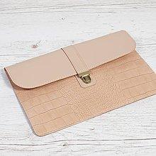 Na notebook - Béžový kožený obal na notebook. Puzdro na notebook. - 9711938_