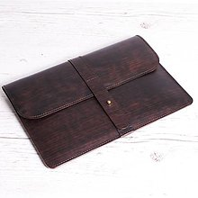 Na notebook - Hnedý kožený obal na notebook. Puzdro na notebok. - 9712039_
