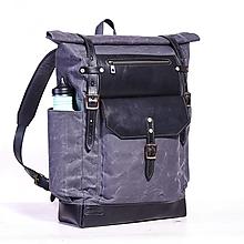 Batohy - Šedý mestský batoh z kože a voskovaného plátna. Módny ruksak. - 9712373_