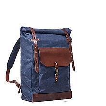 Batohy - Modrý mestský batoh z kože a voskovaného plátna - 9712902_