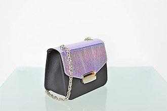 Kabelky - Kožená kabelka KATI mini čierna-kovová metalíza - 9711650_