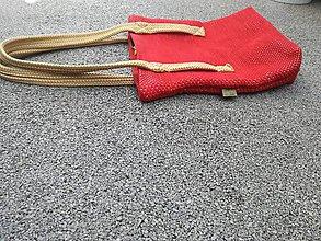 Iné tašky - Červená ručne tkaná Tote taška - 9709856_