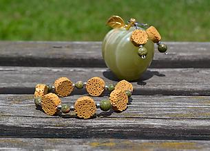 Sady šperkov - Lávová sada s unakitom a oceľou - 9711054_