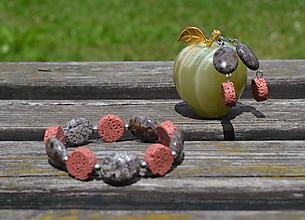 Sady šperkov - Sada obsidián a láva v oceli - 9711136_