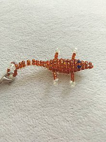 Kľúčenky - Oranžová korálková jašterička na kľúče - 9712428_