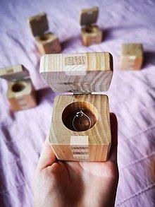 Prstene - Drevená krabička na prstene - 9713072_