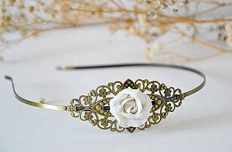 Iné šperky - Čelenka, biela ruža, fimo - 9711090_