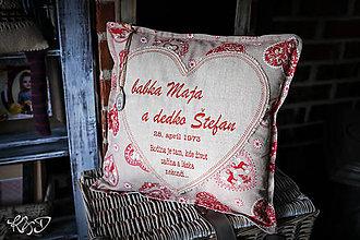 Úžitkový textil - Vankúšik pre babku a dedka k výročiu svadby - 9716266_