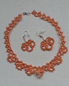 Sady šperkov - Frivolitkový náhrdelník s náušničkami - 9714615_