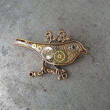 Odznaky/Brošne - PTÁK OHNIVÁK, brož, z hodinek, steampunk - 9714277_