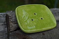Nádoby - Mydelnička zelená, jabĺčková, s reliéfom lístkov - SET :o)) - 9715102_