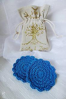 Úžitkový textil - Plátené vrecúško na odličovacie háčkované tampóniky - 9713365_