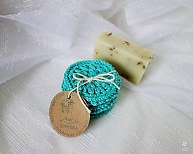 Úžitkový textil - Háčkované odličovacie tampóny tyrkysové - 9714947_